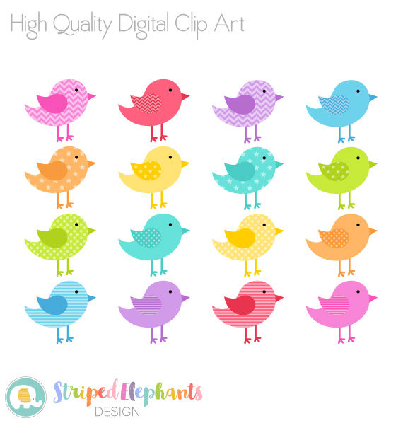 Birds clipart rainbow. Bright digital clip art