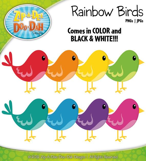 Birds clipart rainbow. Bird contains graphics pinterest