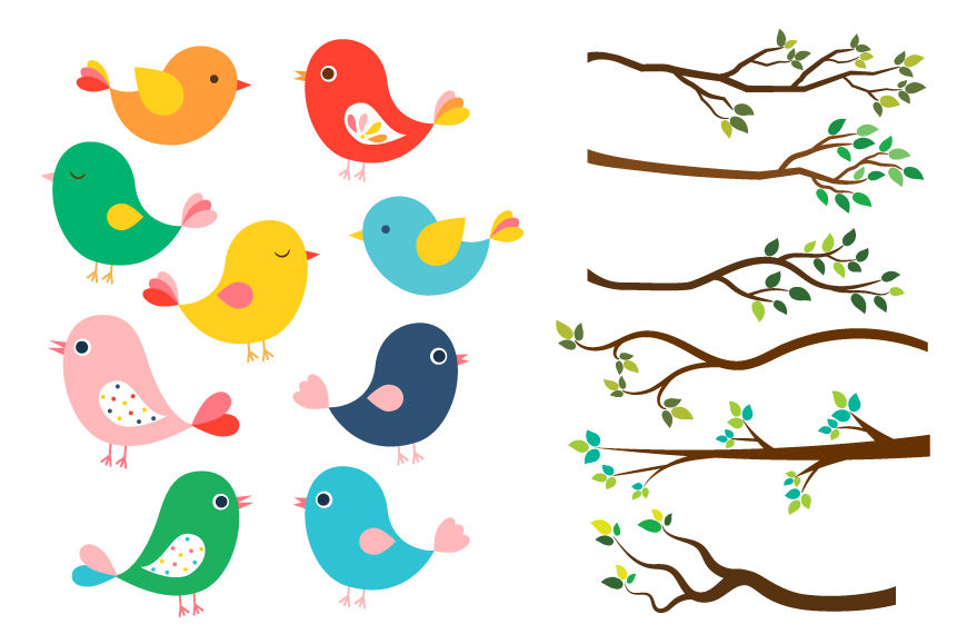 Clipart bird cute. Colorful birds tree branches