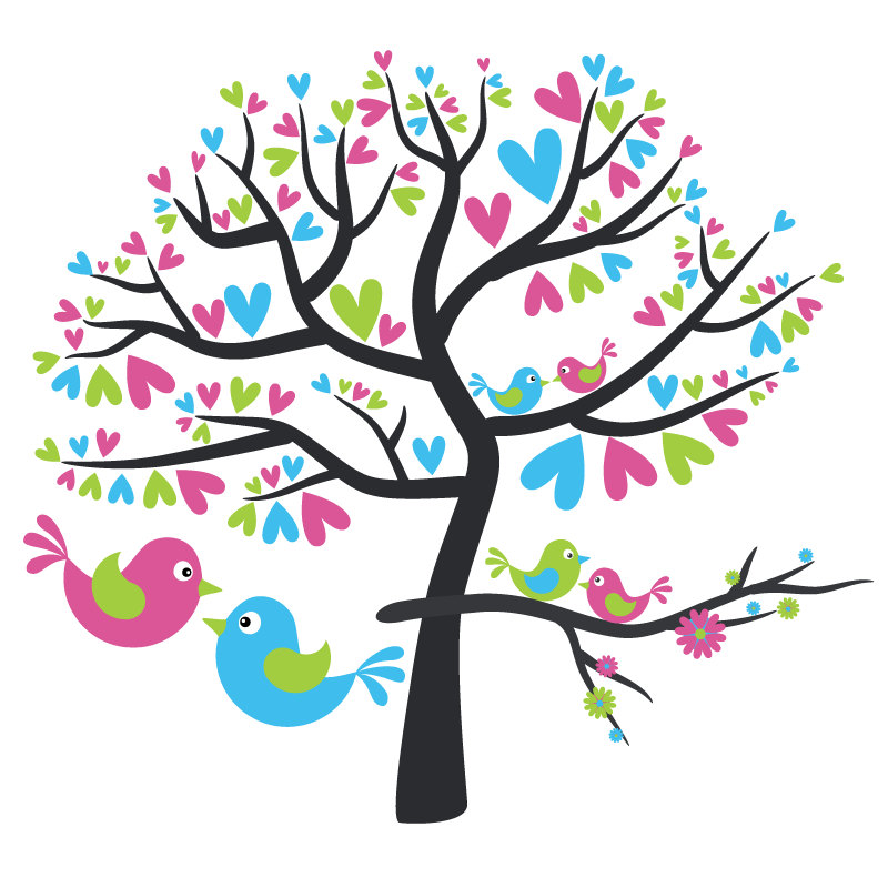 Birds clipart tree. Love in station