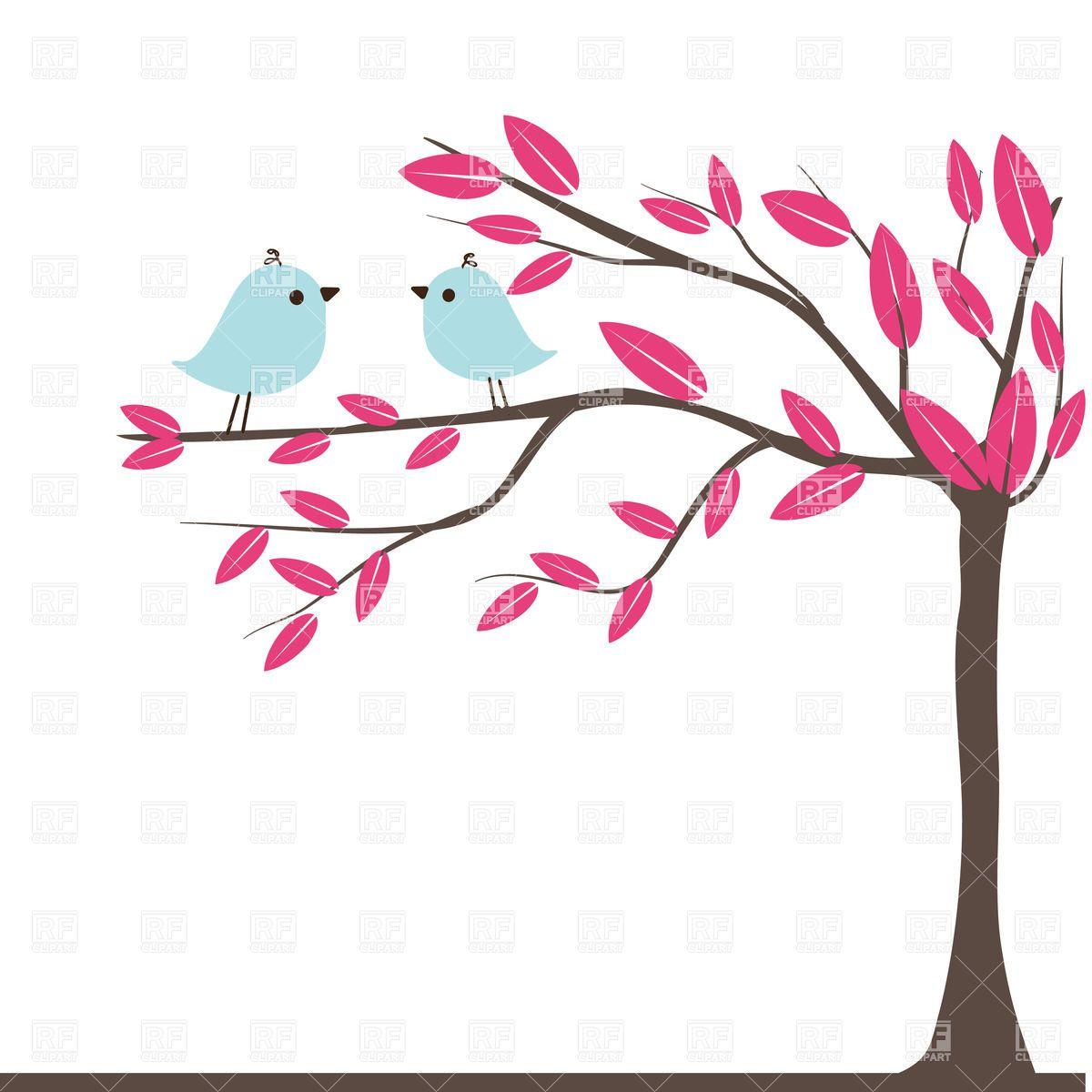 Birds clipart tree. Couples of on autumn