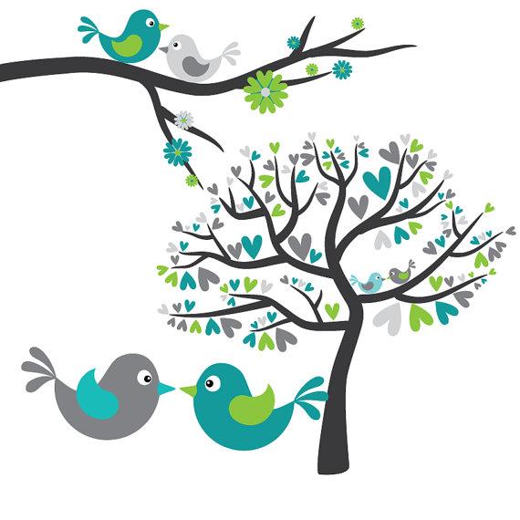 Love in grey panda. Birds clipart tree