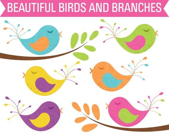Branch digital . Birds clipart tree