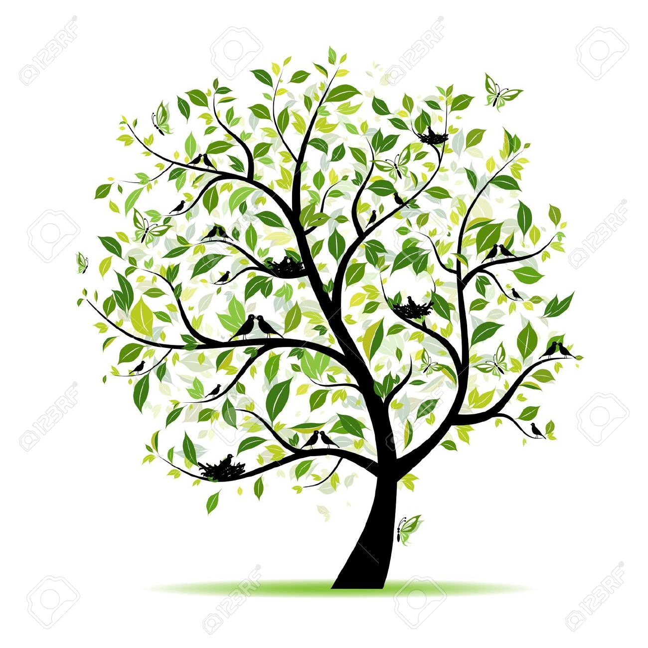 Spring with . Birds clipart tree