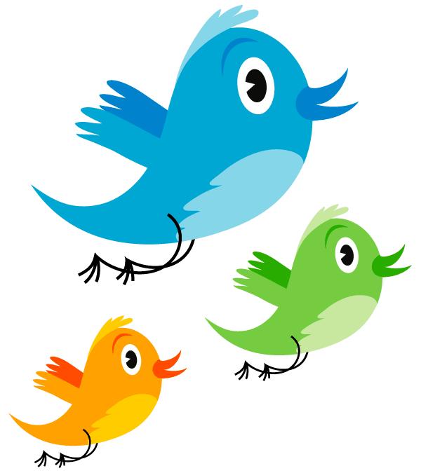 Cute twitter bird image. Clipart birds vector