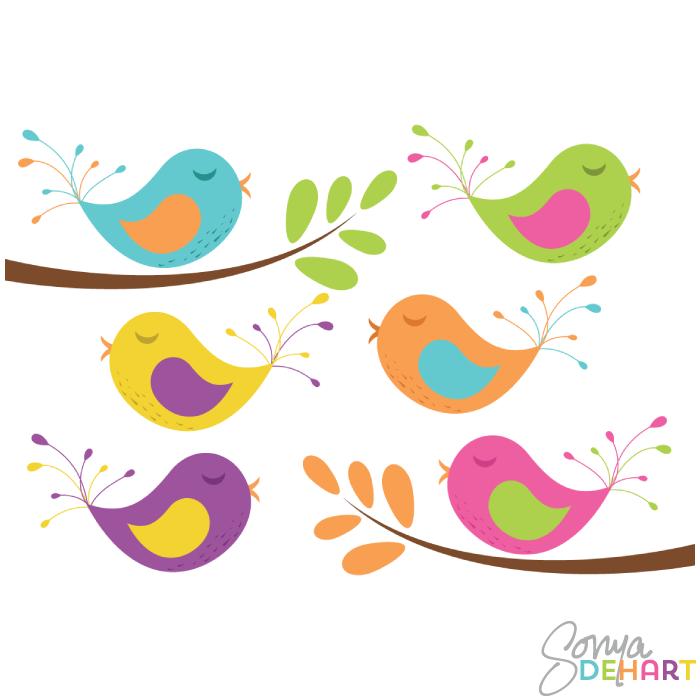 Clip art and branches. Birds clipart vector