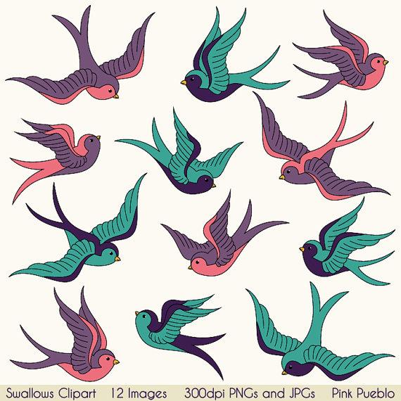 Birds clipart vintage. Swallows clip art tattoo