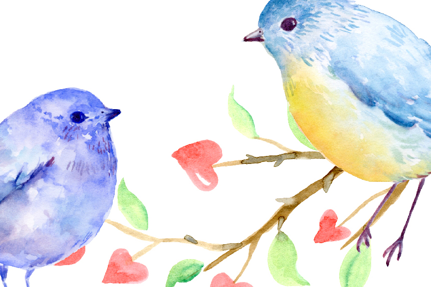 Birds clipart watercolor. Valentine by cornercroft thehungryjpeg