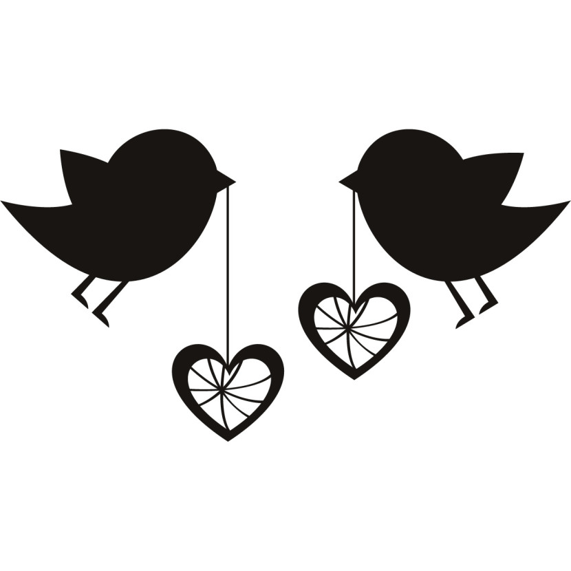 Wedding love birds black. Hearts clipart bird
