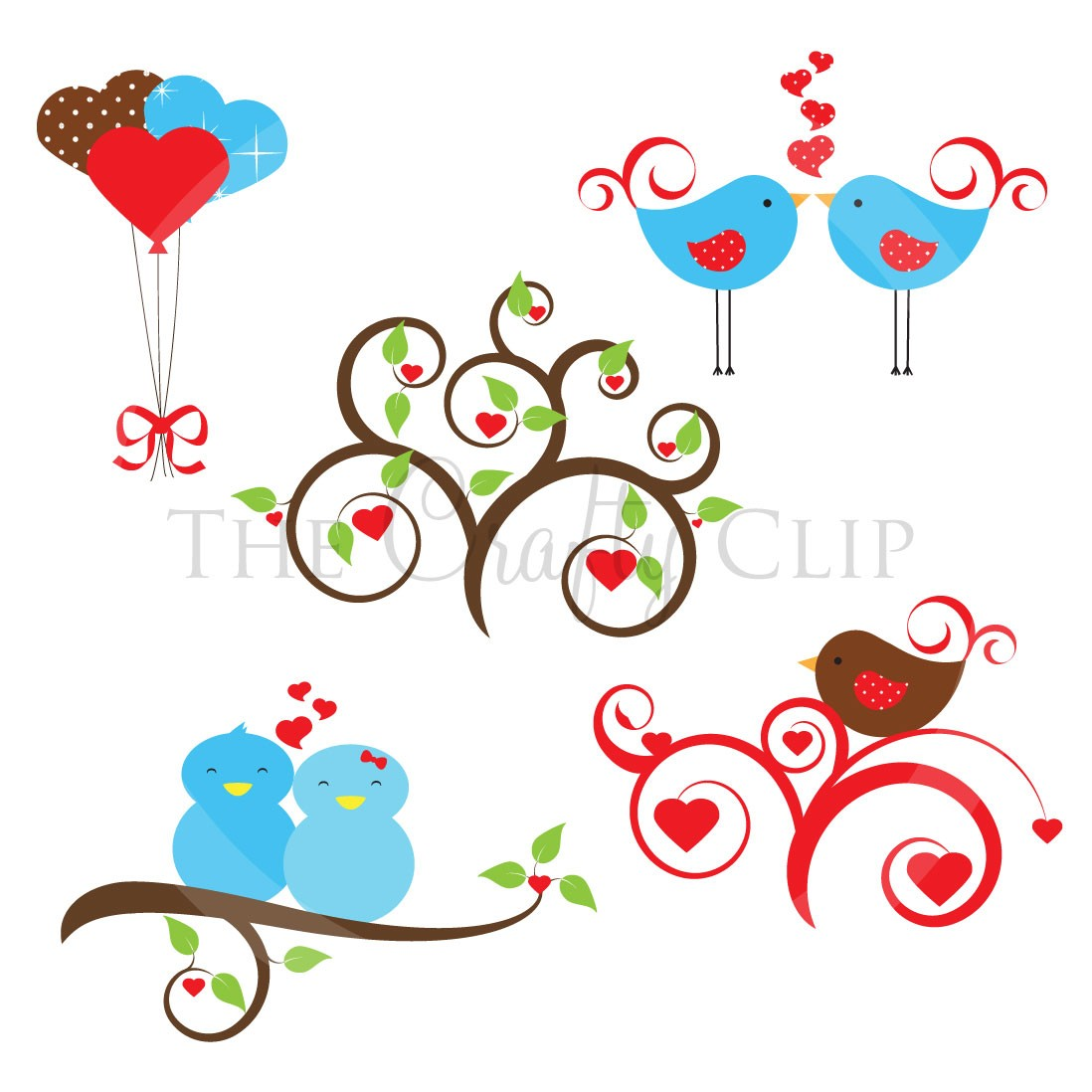 collection of love. Birds clipart wedding