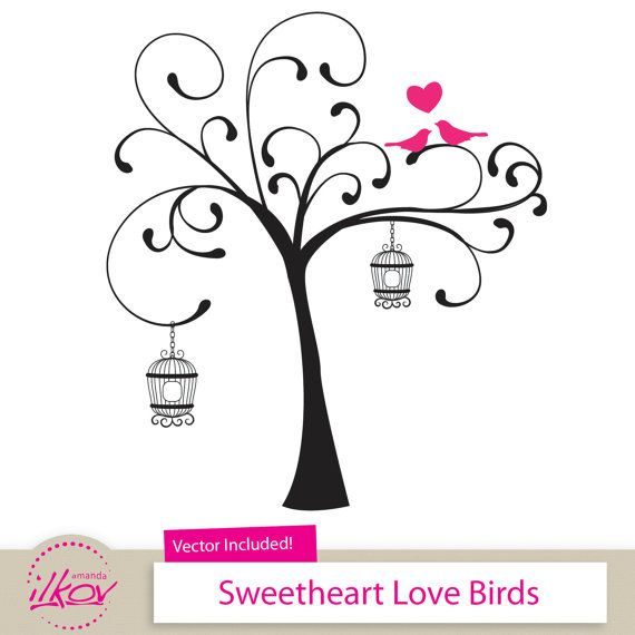 Love birds for invitations. Bird clipart wedding