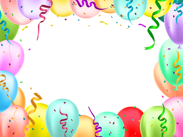 Birthday border png. With balloons transparent image