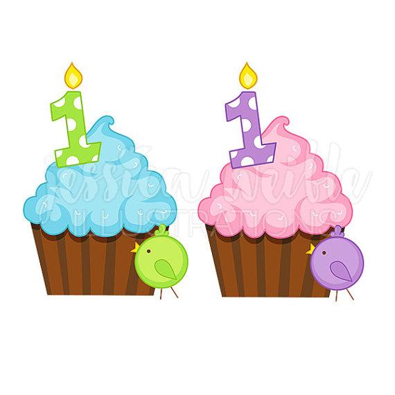 First cupcake cute digital. Birthday clipart 1st