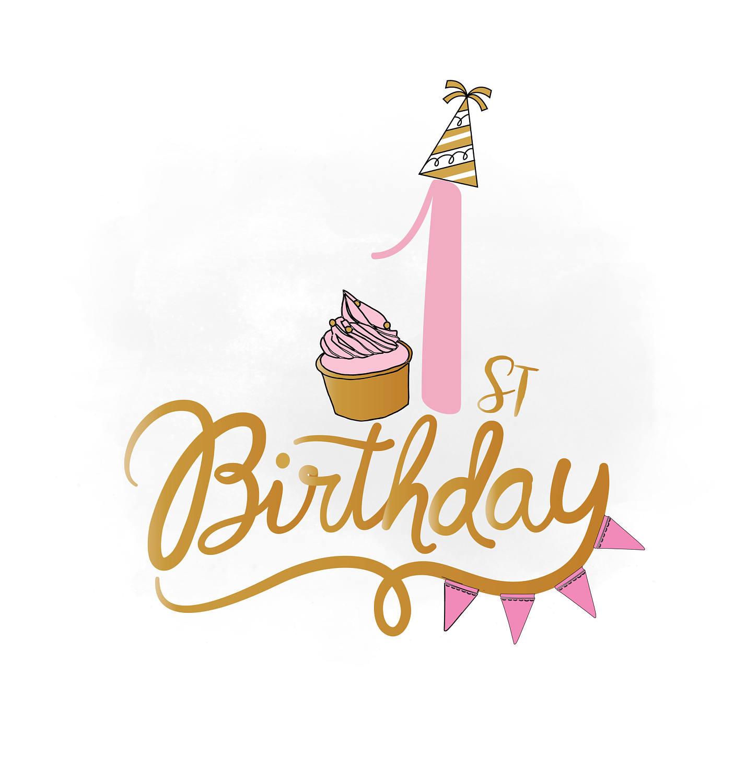 st happy world. Birthday clipart 1st