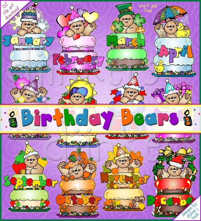 Bears clip art designed. Birthday clipart bulletin