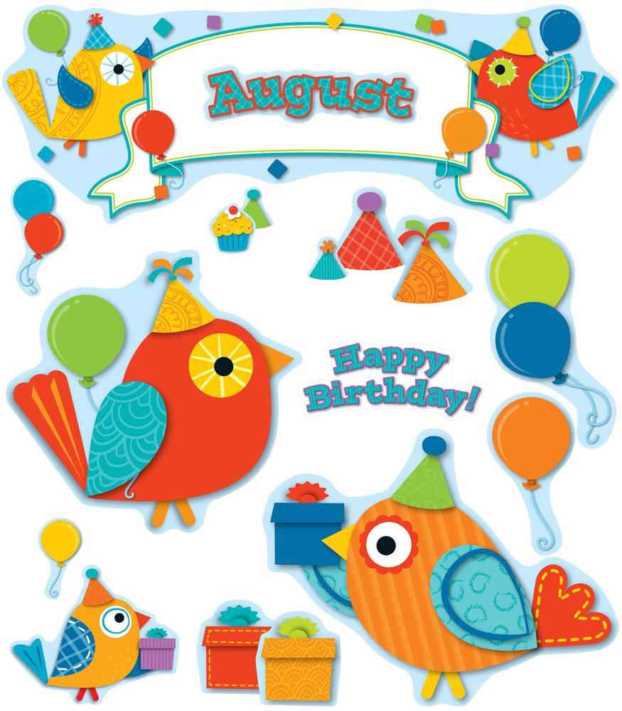 Birthday clipart bulletin. Boho birds board set
