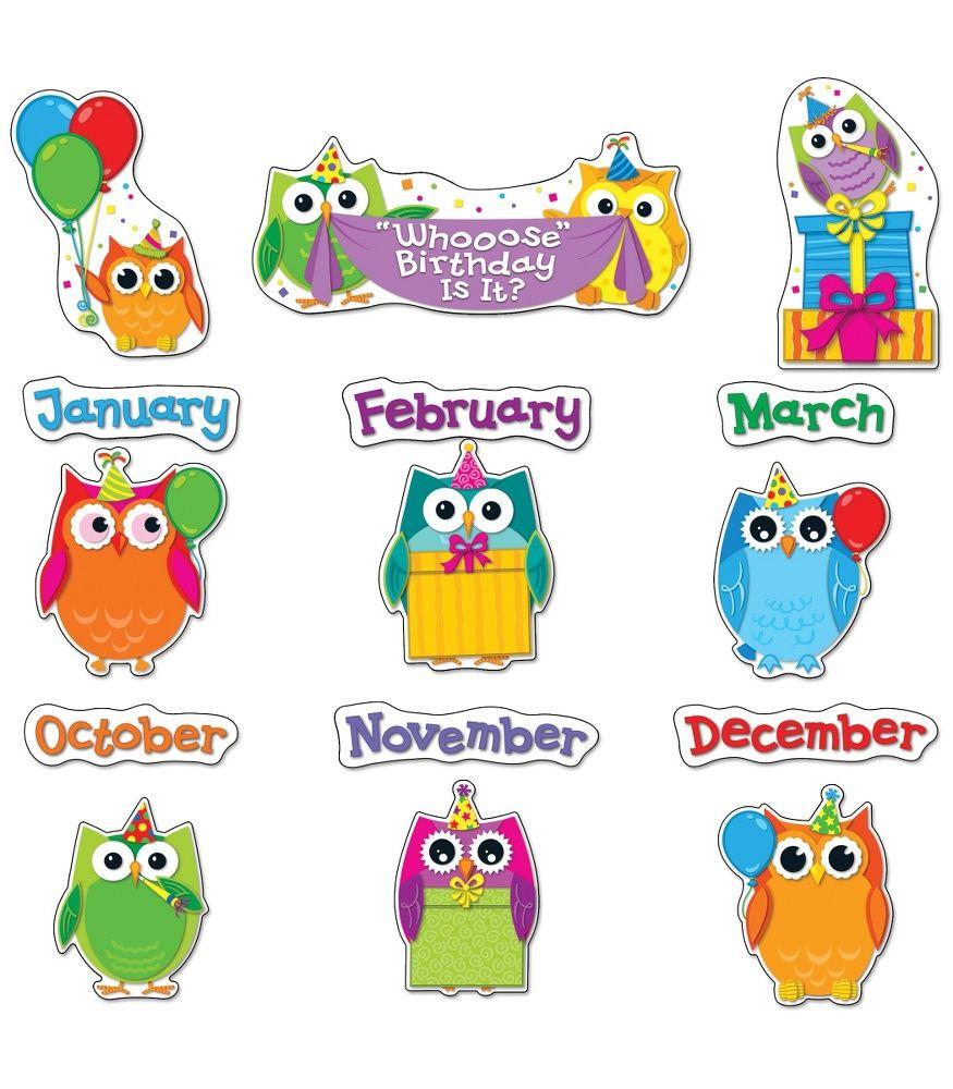 Colorful owls board set. Birthday clipart bulletin