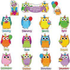 Birthday clipart bulletin. Colorful owls board set