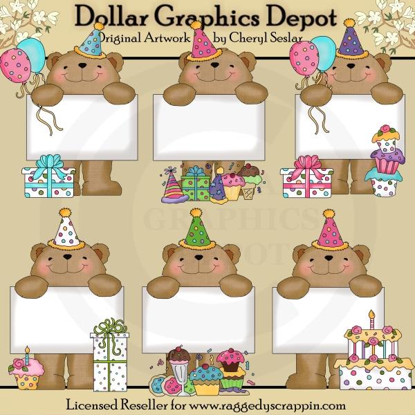 Bears clip art dollar. Birthday clipart bulletin