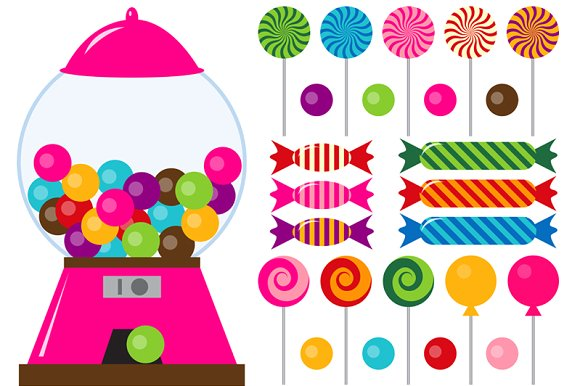Digital candies clip art. Birthday clipart candy