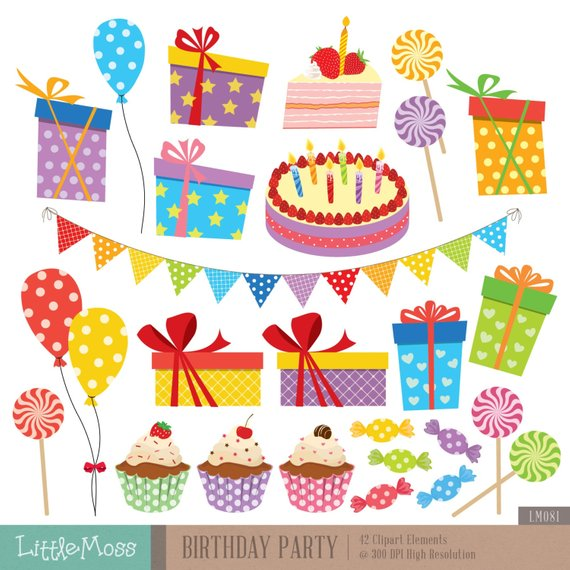 Birthday clipart candy. Party digital gift balloon