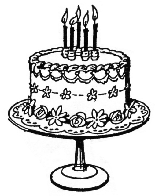Cake line drawing at. Birthday clipart classy