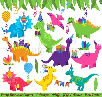 Birthday clip art. Dinosaur clipart party