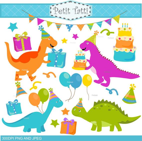 Dinosaur clipart party. On sale clip art