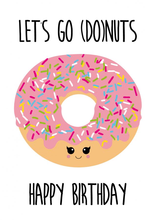 Postkaart let s go. Birthday clipart donut