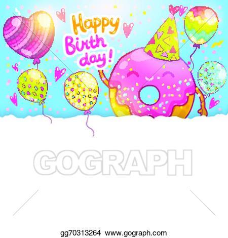 Vector happy card background. Birthday clipart donut