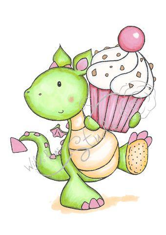 Fergus with cupcake wild. Birthday clipart dragon
