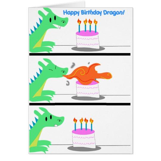 Card funny zazzle com. Birthday clipart dragon