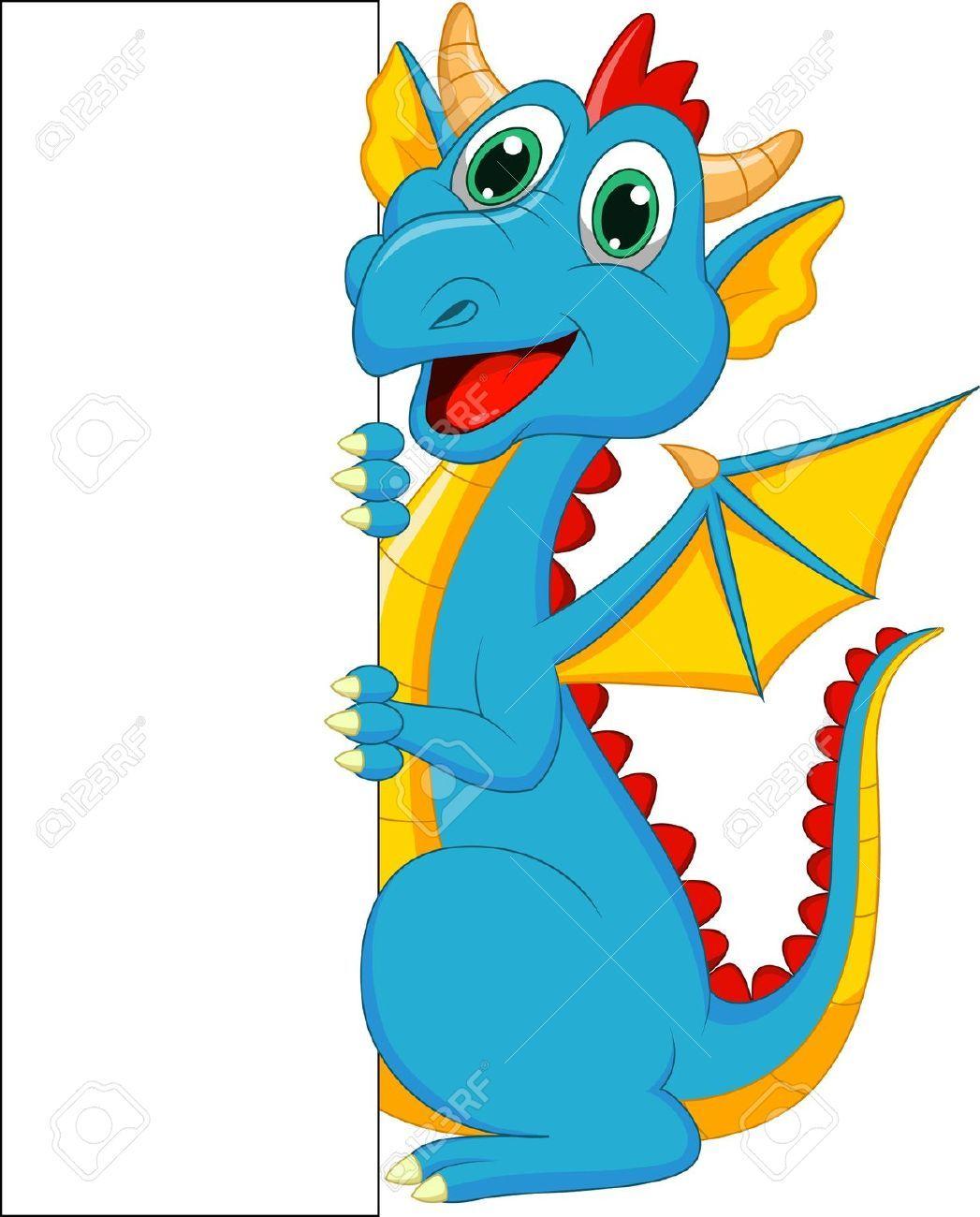 Cute cartoon with blank. Birthday clipart dragon