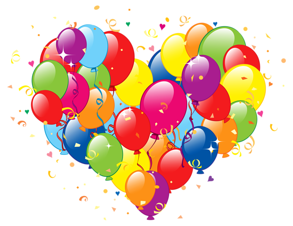 Birthday clipart heart. Of balloons png image
