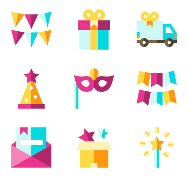 Surprise clipart birthday surprise. Gift icons free vector