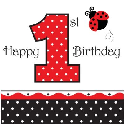 Birthday clipart ladybug. Fancy st lunch napkins