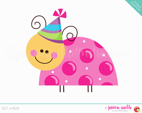 Instant download bug cute. Birthday clipart ladybug