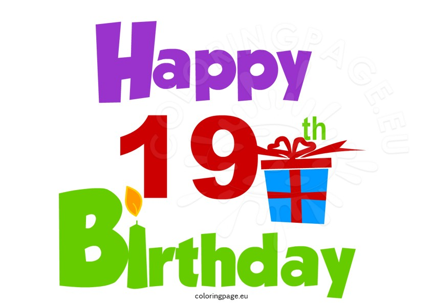 Happy th coloring page. Birthday clipart logo