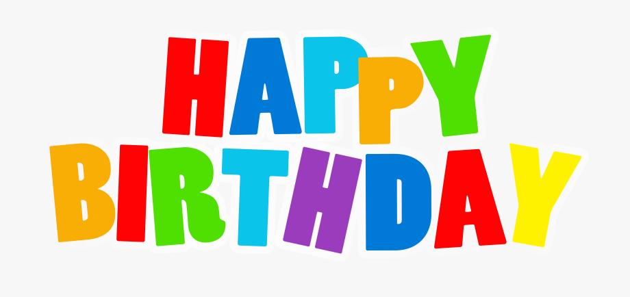 Birthday clipart logo. Multicolored text happy