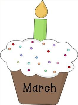 Birthday clipart march. Cupcake months of the
