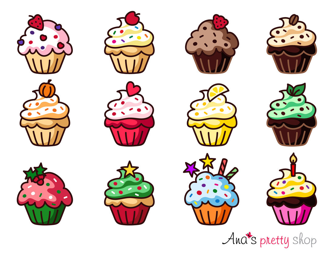 Birthday clipart muffin. Cupcake vector graphic traditional