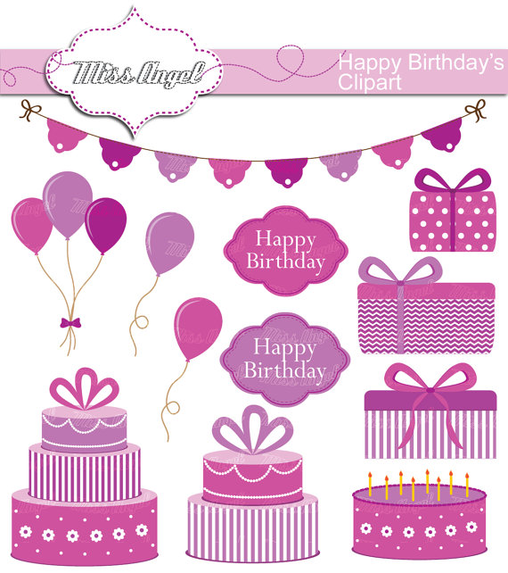 Set digital happy bday. Birthday clipart printable