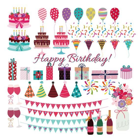Birthday clipart printable. Commercial use card by
