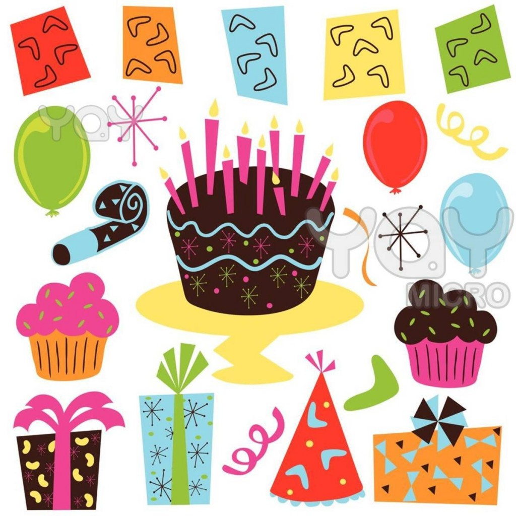 Pencil and in color. Birthday clipart printable