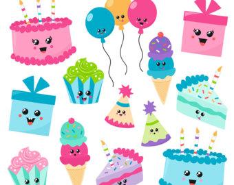 Etsy kawaii digital graphics. Birthday clipart printable