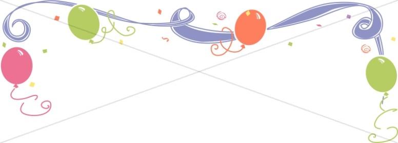 Birthday clipart ribbon. Whimsical and balloon header