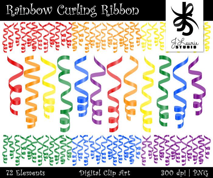 Birthday clipart ribbon. Digital curling party rainbow