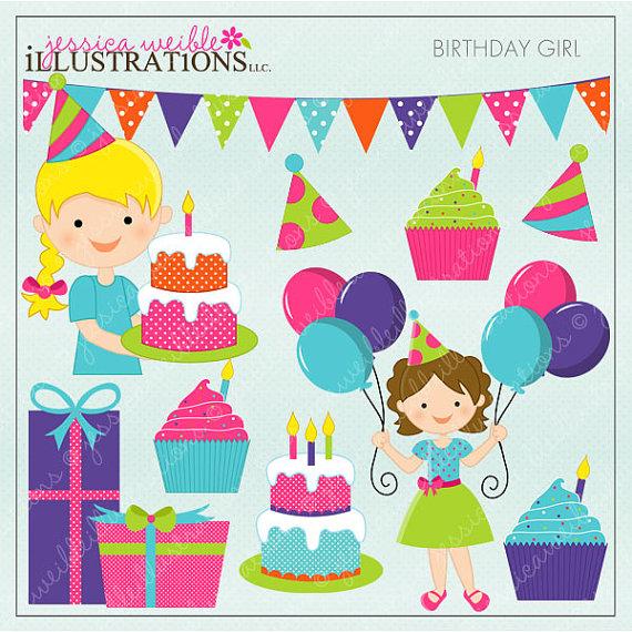 Birthday clipart scrapbook. Girl cute digital for