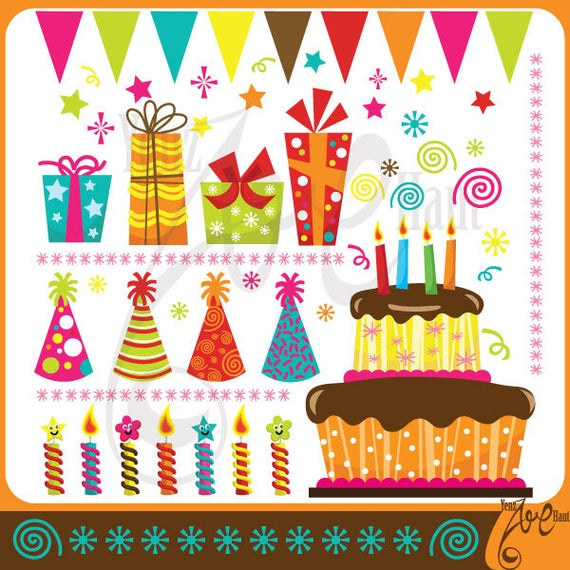 Party clip art pack. Birthday clipart scrapbook