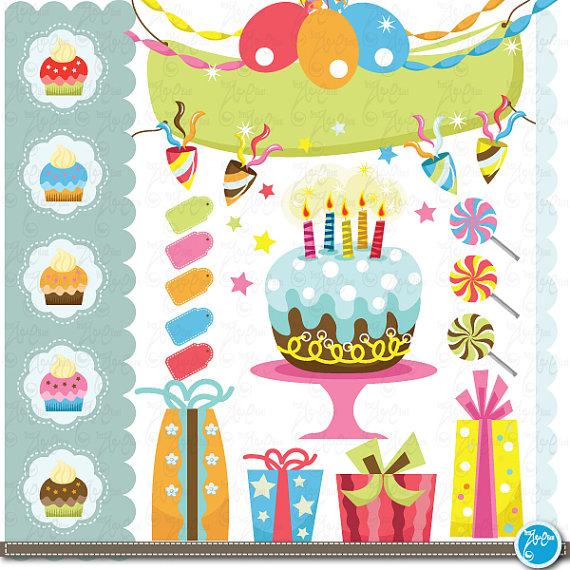 Birthday clip art party. Baby clipart scrapbook
